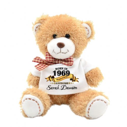 Personalised Born In Any Year Birthday Day Plush Teddy Bear N23